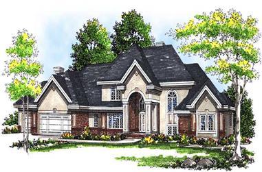 4-Bedroom, 4255 Sq Ft European House Plan - 101-1249 - Front Exterior
