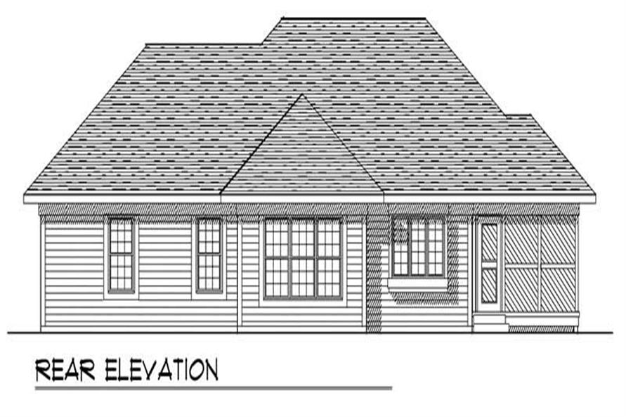 Home Plan Rear Elevation of this 3-Bedroom,1657 Sq Ft Plan -101-1250