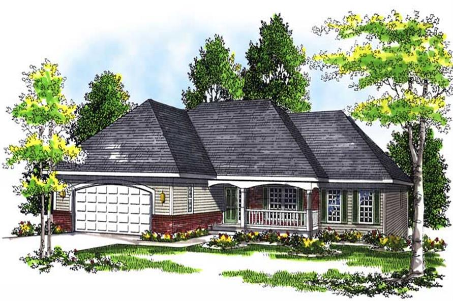 3-Bedroom, 1657 Sq Ft Ranch House Plan - 101-1250 - Front Exterior