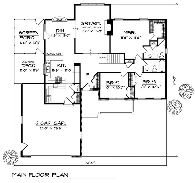 Ranch home with 3 bdrms 1657 sq ft house plan 101 1250 for 1250 sq ft house plans