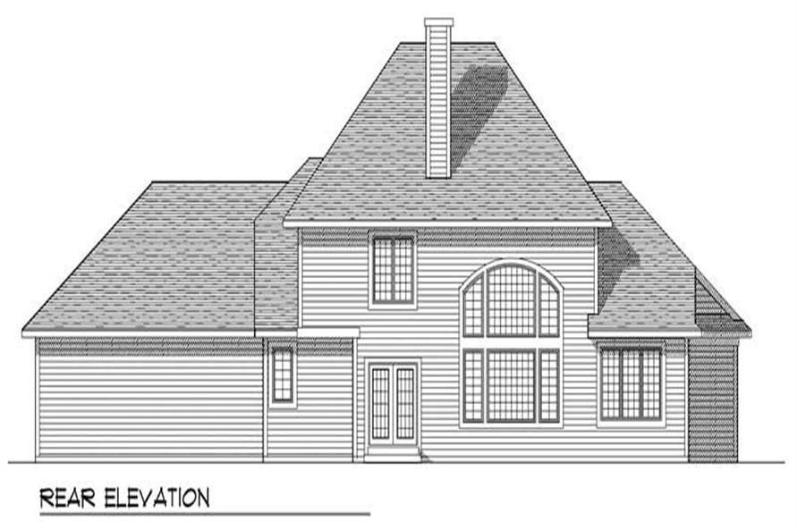 Home Plan Rear Elevation of this 4-Bedroom,2736 Sq Ft Plan -101-1252