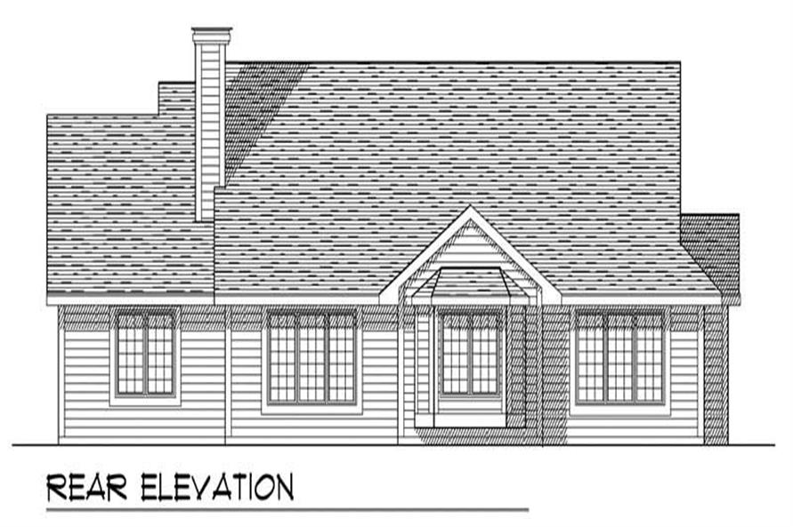 Home Plan Rear Elevation of this 3-Bedroom,1632 Sq Ft Plan -101-1254