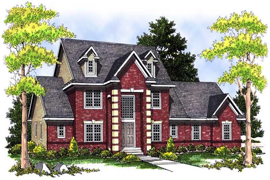 5-Bedroom, 3358 Sq Ft Georgian House Plan - 101-1257 - Front Exterior