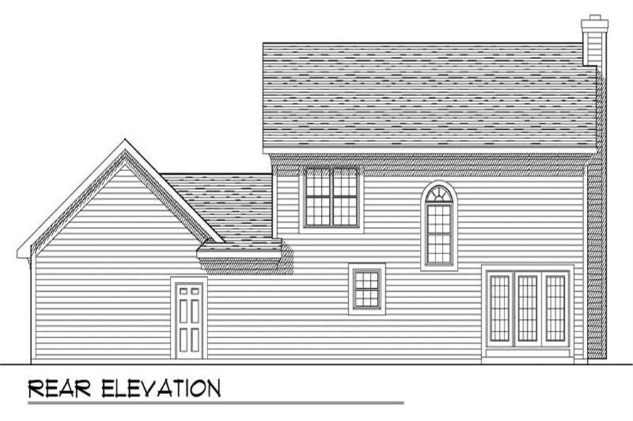 Home Plan Rear Elevation of this 3-Bedroom,1553 Sq Ft Plan -101-1258