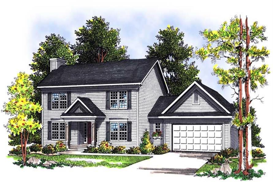 3-Bedroom, 1553 Sq Ft Colonial House Plan - 101-1258 - Front Exterior