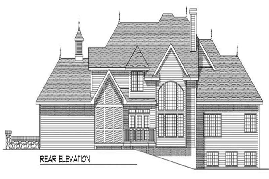Home Plan Rear Elevation of this 4-Bedroom,3109 Sq Ft Plan -101-1261