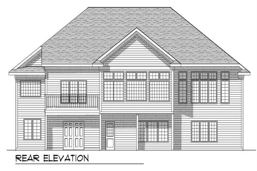 Home Plan Rear Elevation of this 2-Bedroom,1940 Sq Ft Plan -101-1264