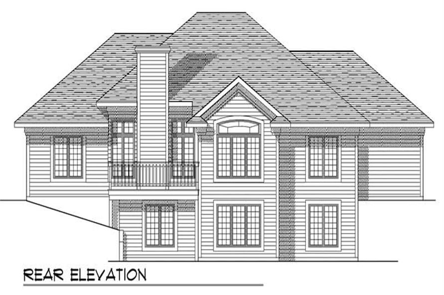 Home Plan Rear Elevation of this 3-Bedroom,2731 Sq Ft Plan -101-1267