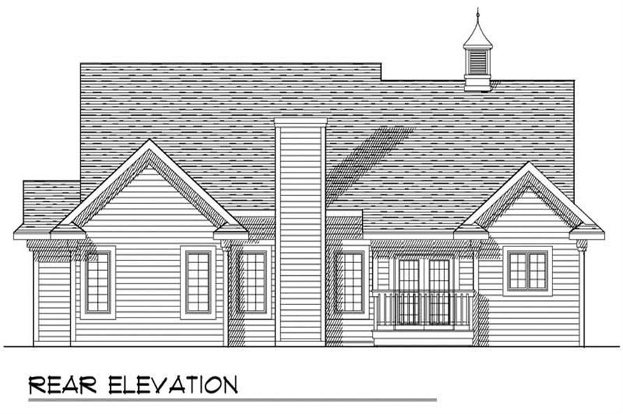 Home Plan Rear Elevation of this 3-Bedroom,1600 Sq Ft Plan -101-1271