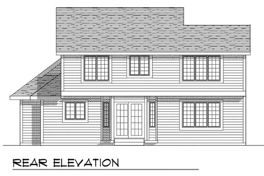 Home Plan Rear Elevation of this 3-Bedroom,1873 Sq Ft Plan -101-1274