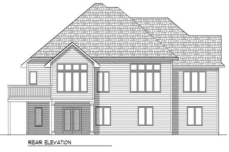 Home Plan Rear Elevation of this 4-Bedroom,3214 Sq Ft Plan -101-1283