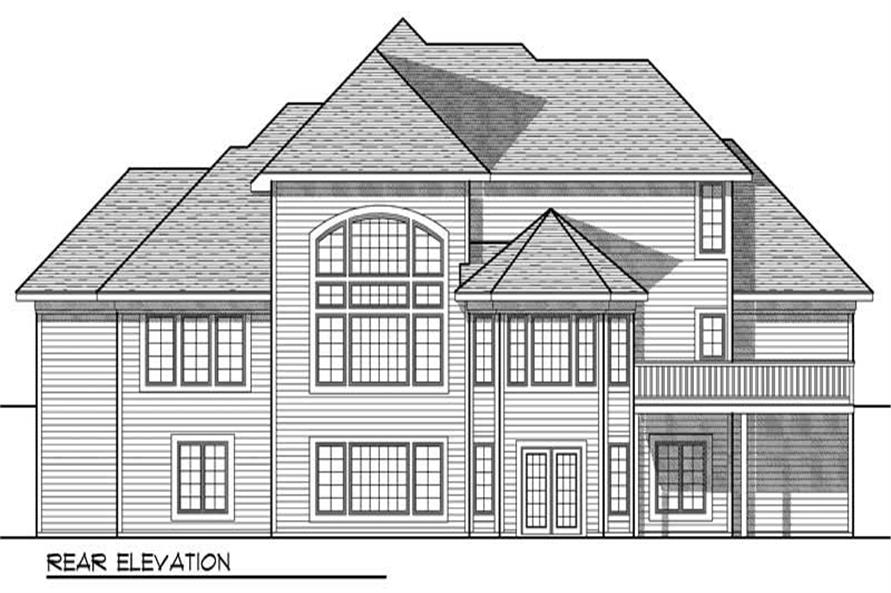 Home Plan Rear Elevation of this 3-Bedroom,2911 Sq Ft Plan -101-1284