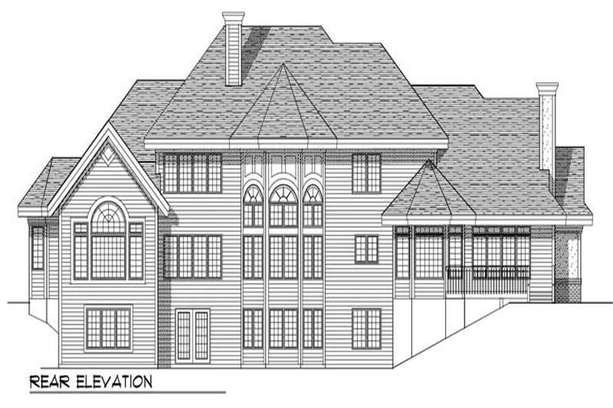 Home Plan Rear Elevation of this 4-Bedroom,3600 Sq Ft Plan -101-1289