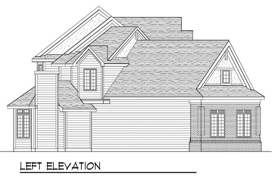 Home Plan Left Elevation of this 4-Bedroom,3491 Sq Ft Plan -101-1291