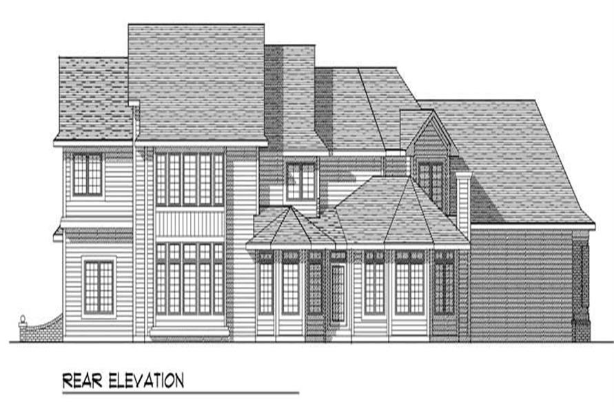 Home Plan Rear Elevation of this 4-Bedroom,3491 Sq Ft Plan -101-1291