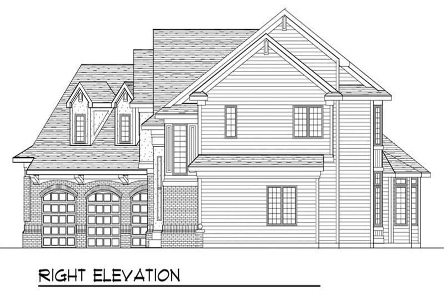 Home Plan Right Elevation of this 4-Bedroom,3491 Sq Ft Plan -101-1291