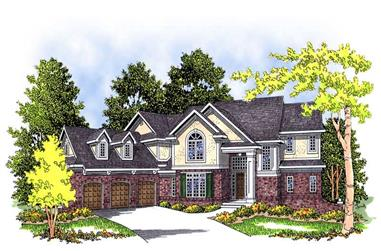 4-Bedroom, 3491 Sq Ft European Home Plan - 101-1291 - Main Exterior