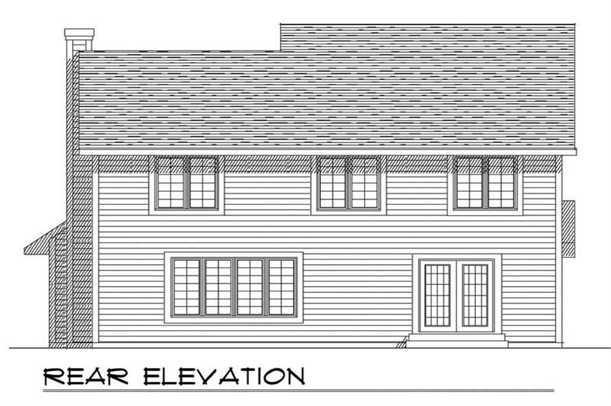 Home Plan Rear Elevation of this 4-Bedroom,2143 Sq Ft Plan -101-1293