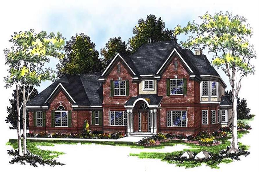 4-Bedroom, 3470 Sq Ft European House Plan - 101-1298 - Front Exterior