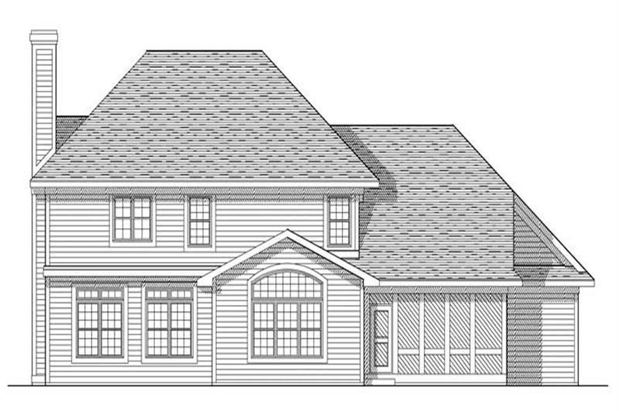 Home Plan Rear Elevation of this 4-Bedroom,2772 Sq Ft Plan -101-1301