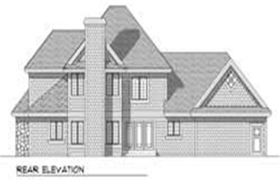 Home Plan Rear Elevation of this 4-Bedroom,2637 Sq Ft Plan -101-1307