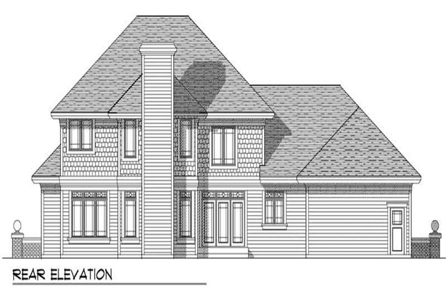 Home Plan Rear Elevation of this 4-Bedroom,3070 Sq Ft Plan -101-1308