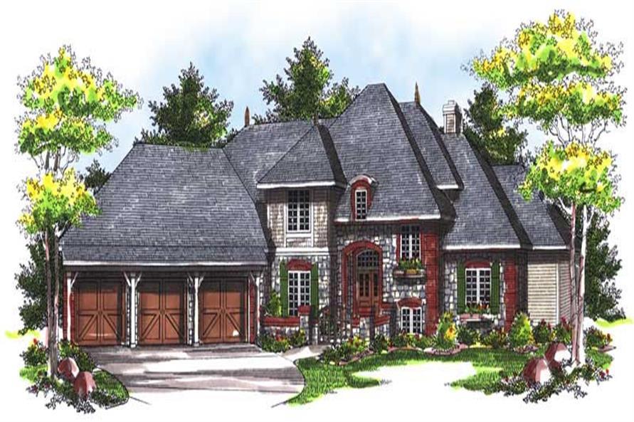 3-Bedroom, 3332 Sq Ft European House Plan - 101-1314 - Front Exterior