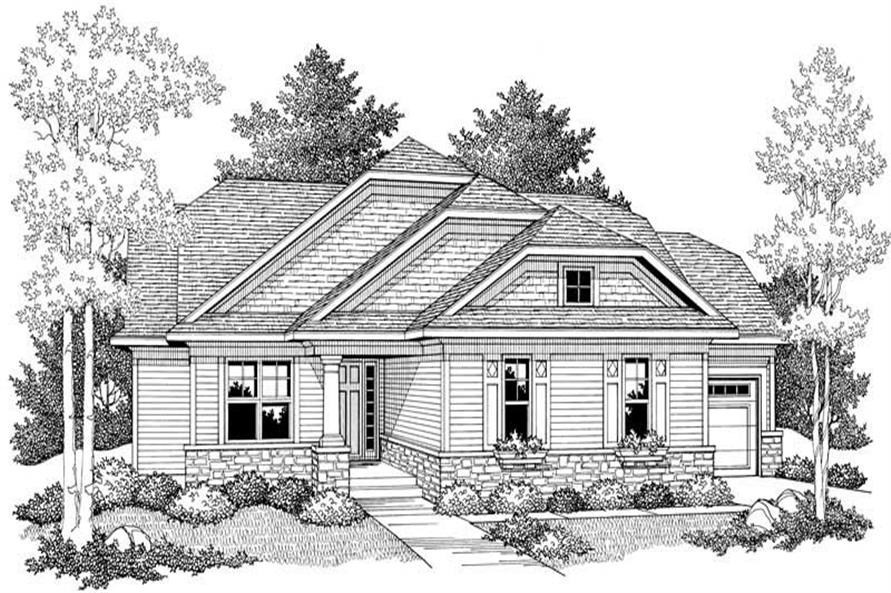 Home Plan Front Elevation of this 2-Bedroom,1416 Sq Ft Plan -101-1317