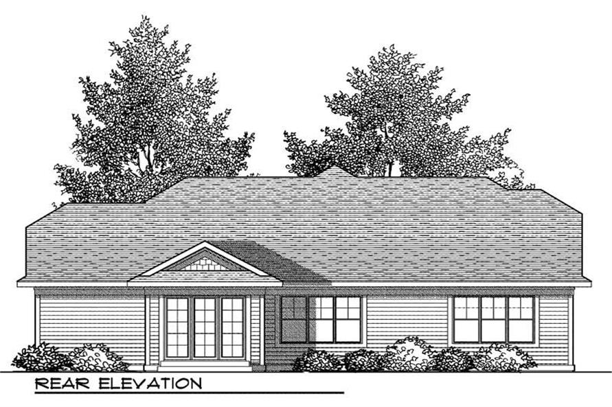 Home Plan Rear Elevation of this 2-Bedroom,1416 Sq Ft Plan -101-1317