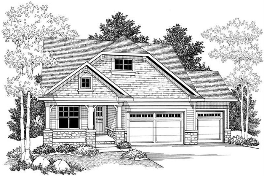 Home Plan Front Elevation of this 2-Bedroom,1393 Sq Ft Plan -101-1318