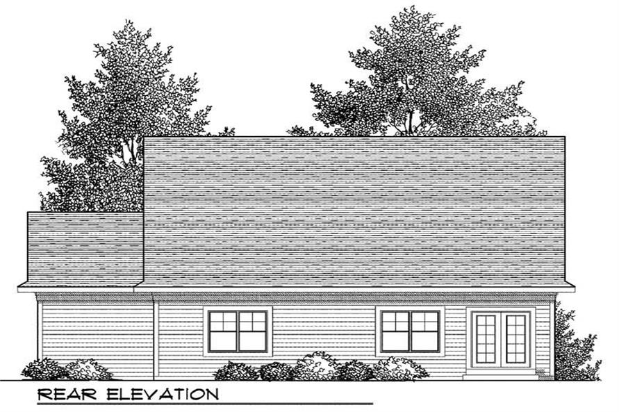 Home Plan Rear Elevation of this 2-Bedroom,1393 Sq Ft Plan -101-1318