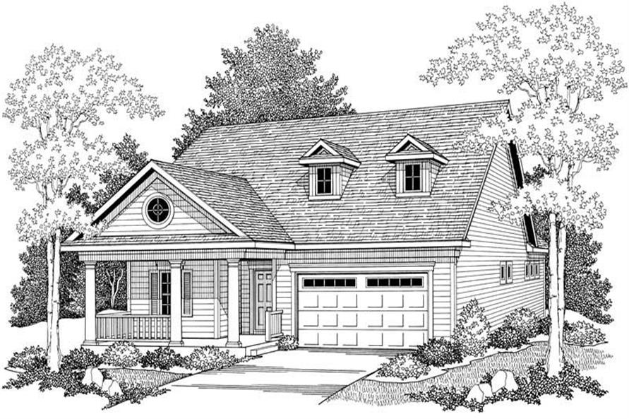 Home Plan Front Elevation of this 2-Bedroom,1372 Sq Ft Plan -101-1320