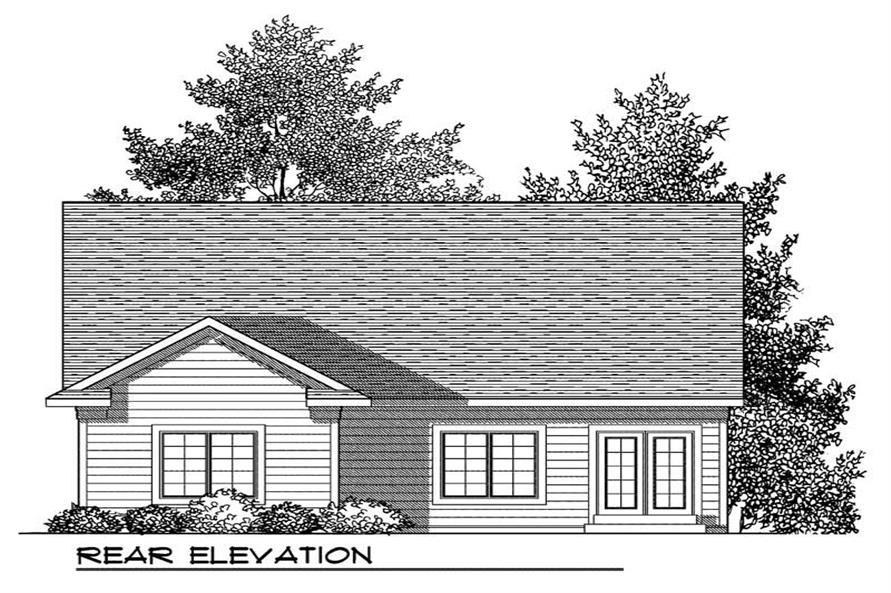 Home Plan Rear Elevation of this 2-Bedroom,1372 Sq Ft Plan -101-1320