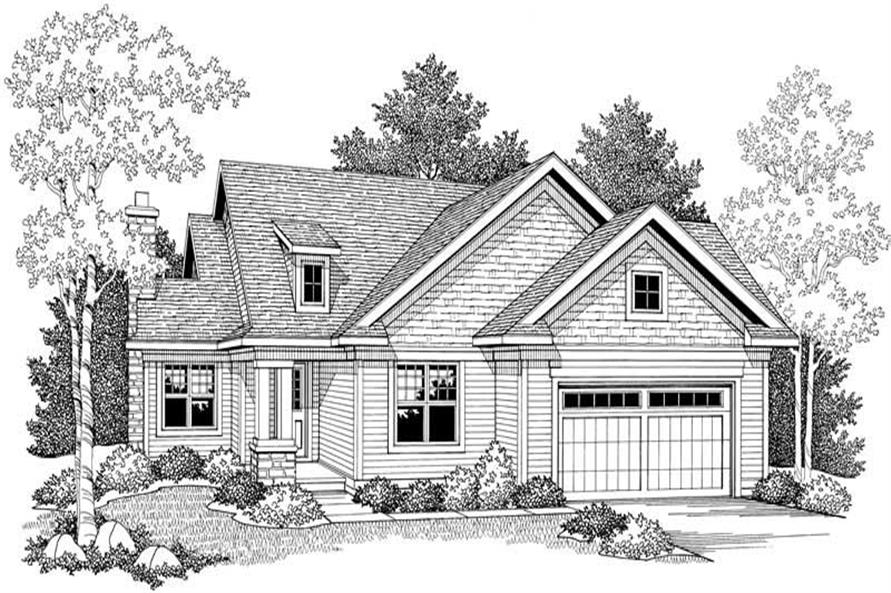 Home Plan Front Elevation of this 2-Bedroom,1354 Sq Ft Plan -101-1321