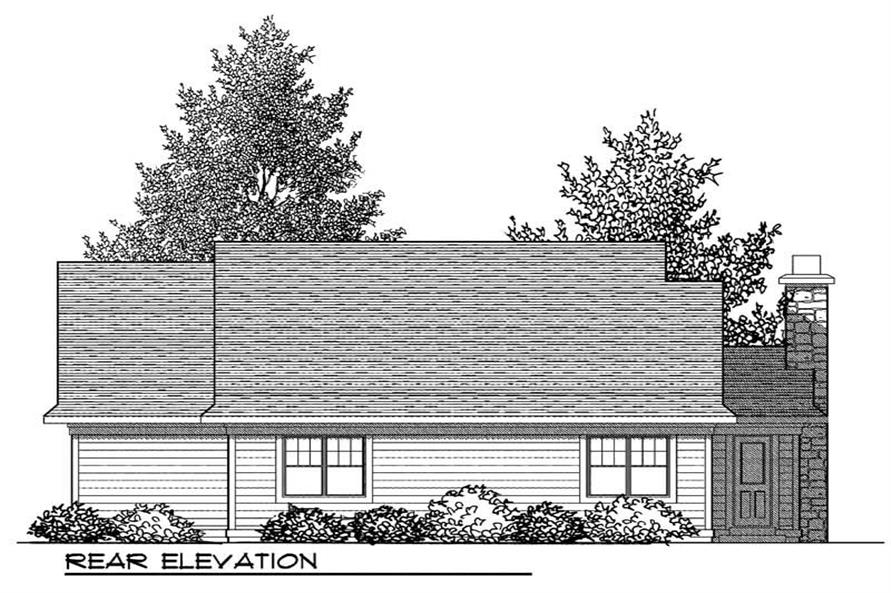 Home Plan Rear Elevation of this 2-Bedroom,1354 Sq Ft Plan -101-1321