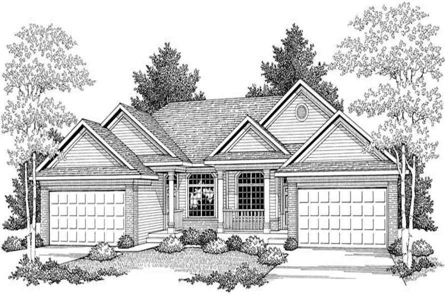 Home Plan Front Elevation of this 2-Bedroom,2481 Sq Ft Plan -101-1322