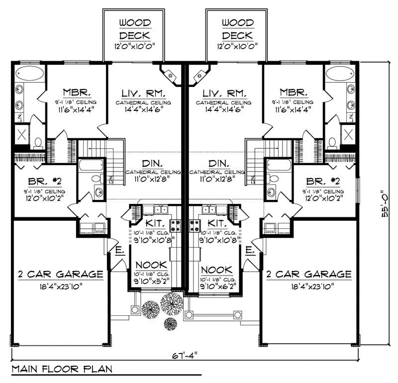 House Design 101: Ranch Multi-Unit Home With 2 Bdrms, 2481 Sq Ft