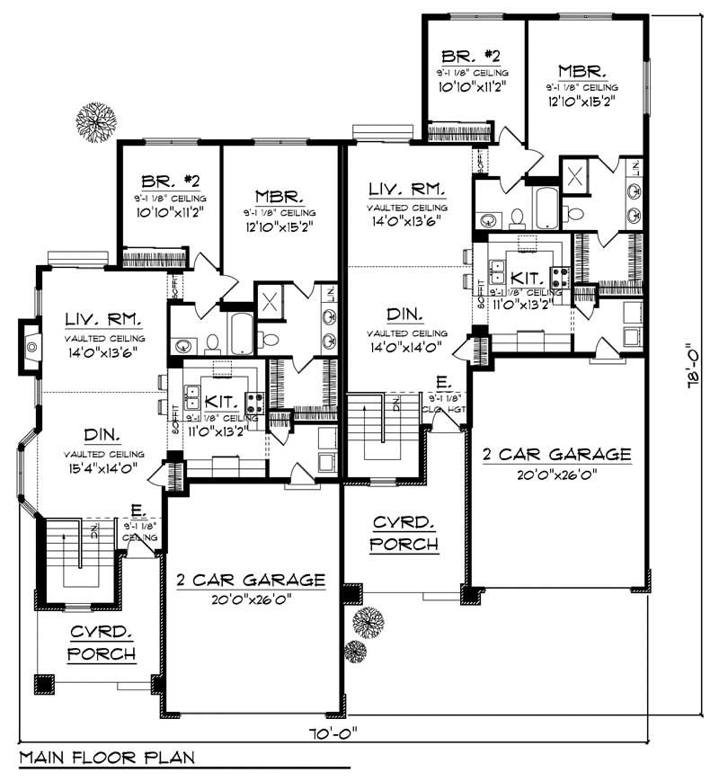 House Design 101: Ranch Multi-Unit Home With 2 Bdrms, 2683 Sq Ft