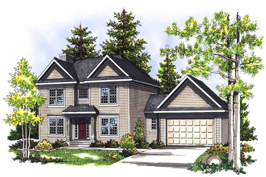 3-Bedroom, 1966 Sq Ft Colonial Home Plan - 101-1324 - Main Exterior