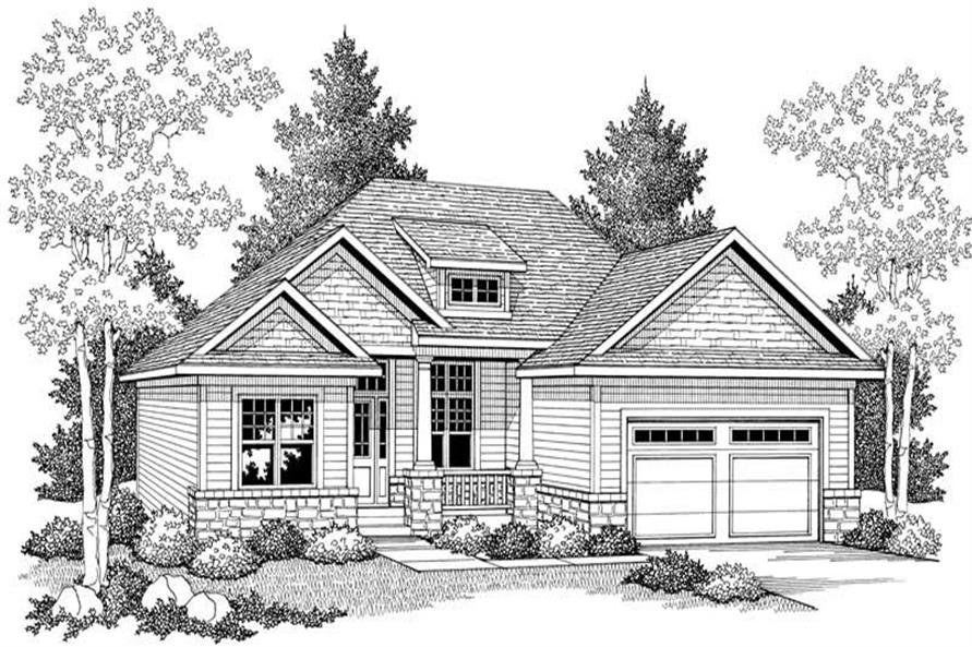 Home Plan Front Elevation of this 3-Bedroom,1509 Sq Ft Plan -101-1326