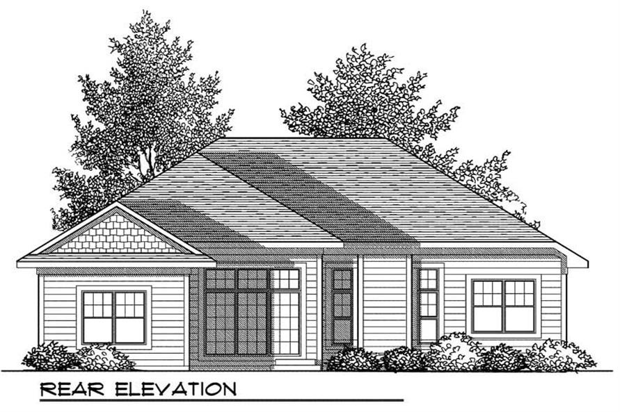 Home Plan Rear Elevation of this 3-Bedroom,1509 Sq Ft Plan -101-1326