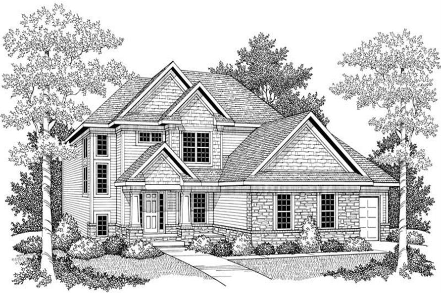 Home Plan Front Elevation of this 3-Bedroom,2074 Sq Ft Plan -101-1328