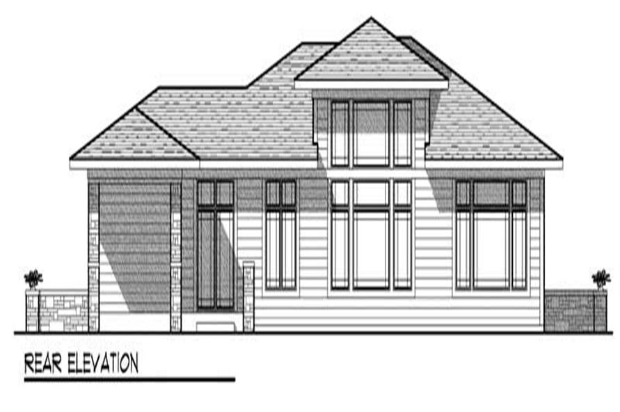 Home Plan Rear Elevation of this 2-Bedroom,2017 Sq Ft Plan -101-1329