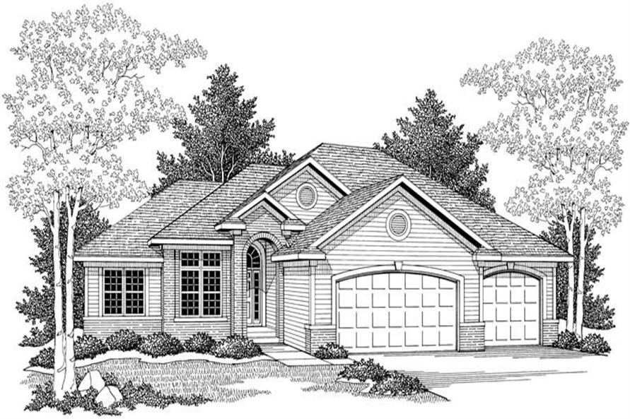 Home Plan Front Elevation of this 3-Bedroom,1701 Sq Ft Plan -101-1332