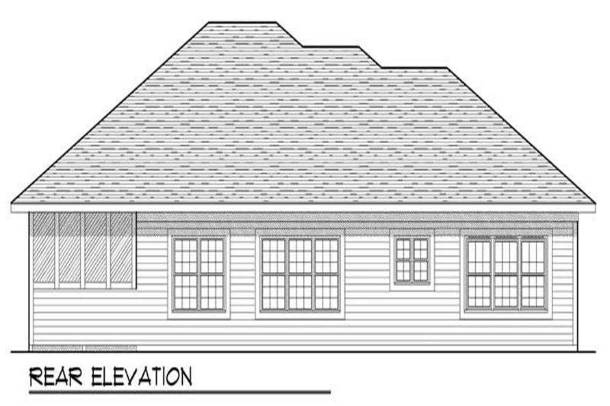 Home Plan Rear Elevation of this 3-Bedroom,1701 Sq Ft Plan -101-1332