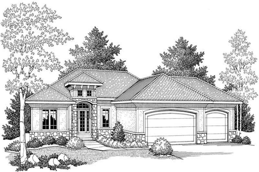 Home Plan Front Elevation of this 3-Bedroom,1591 Sq Ft Plan -101-1333