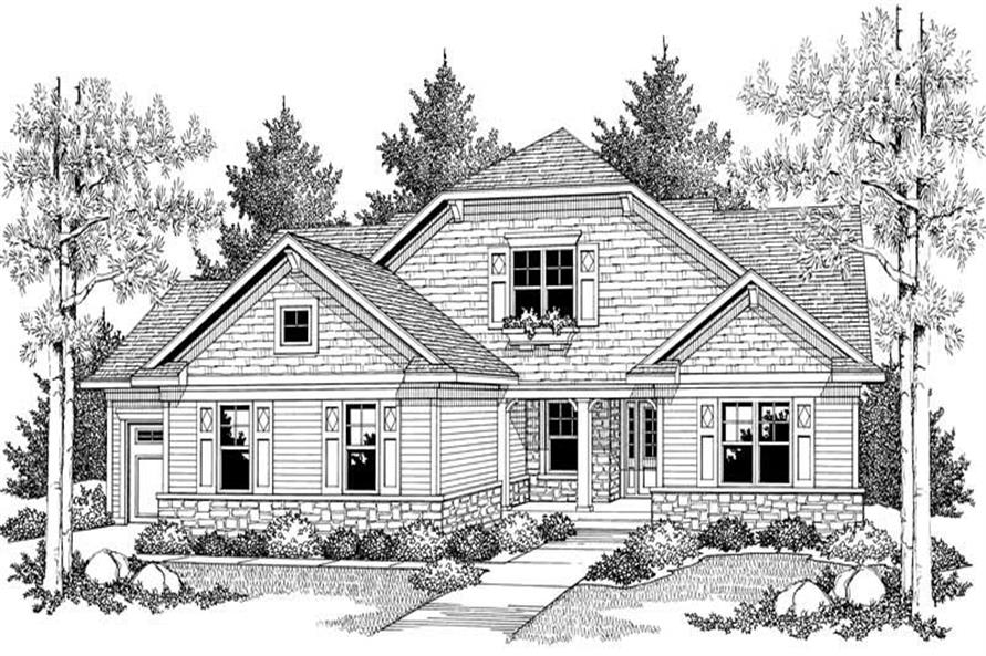 Home Plan Front Elevation of this 2-Bedroom,1508 Sq Ft Plan -101-1345