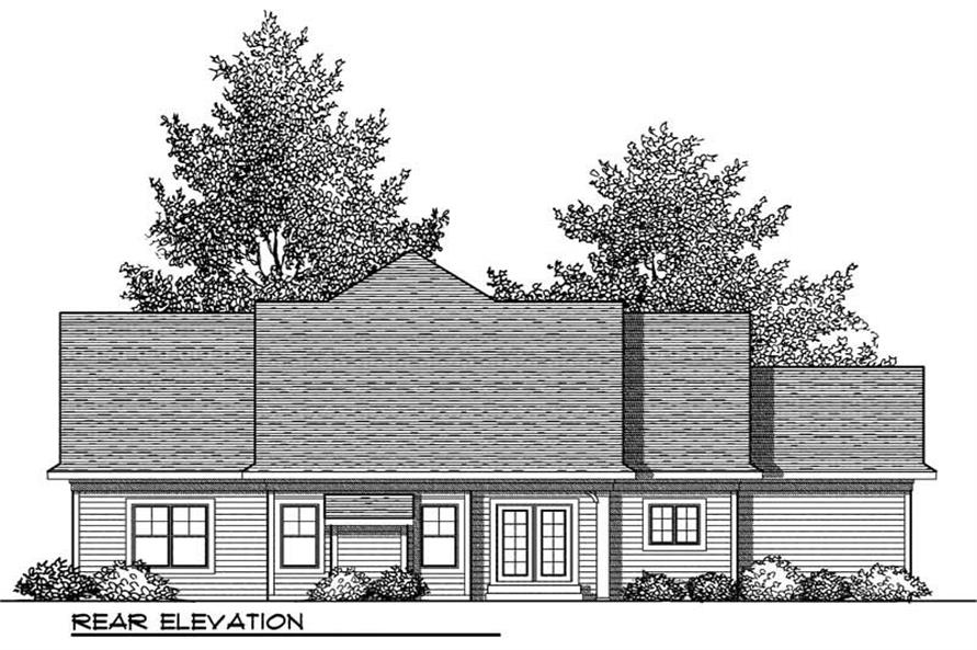 Home Plan Rear Elevation of this 2-Bedroom,1508 Sq Ft Plan -101-1345