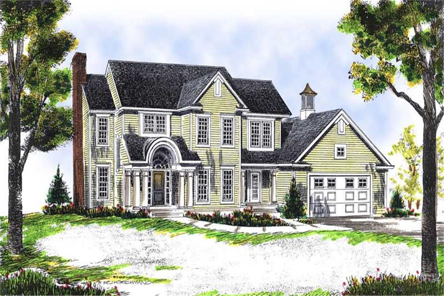 4-Bedroom, 1976 Sq Ft Colonial Home Plan - 101-1347 - Main Exterior