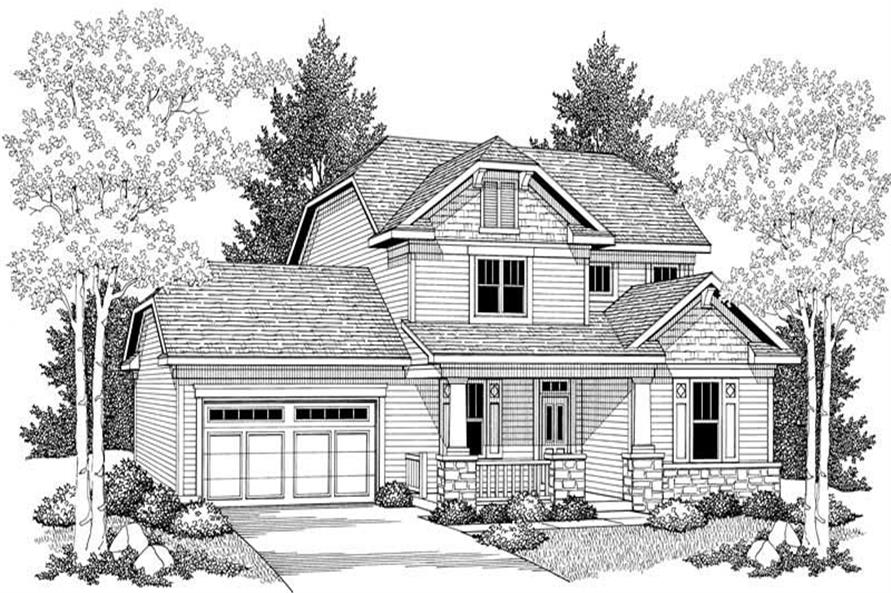 Home Plan Front Elevation of this 3-Bedroom,2079 Sq Ft Plan -101-1350